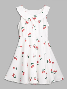 Peter Pan Collar Cherry Pattern Women's Day Dress