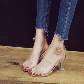 Ericdress Plain See-Through Chunky Heel PVC Sandals