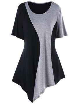 Ericdress Patchwork Scoop Asymmetric Short Sleeve Womens T Shirt