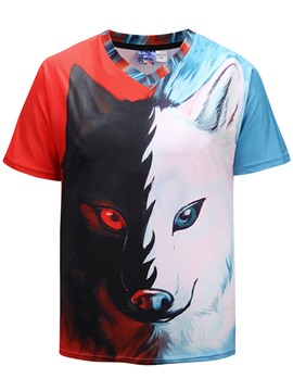 Ericdress Cartoon Printed Color Block Mens V-Neck T Shirts