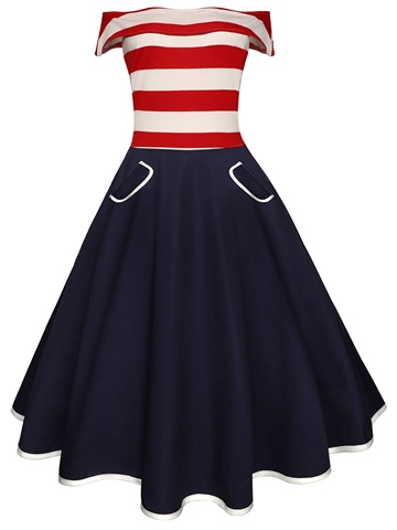 Ericdress Off-The-Shoulder World Cup A-Line Dress