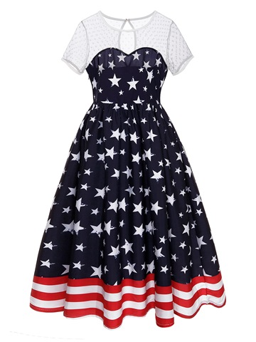 Ericdress Patchwork Print World Cup A-Line Dress