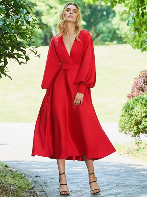 Ericdress A Line Long Sleeve Tea Length Red Evening Dress