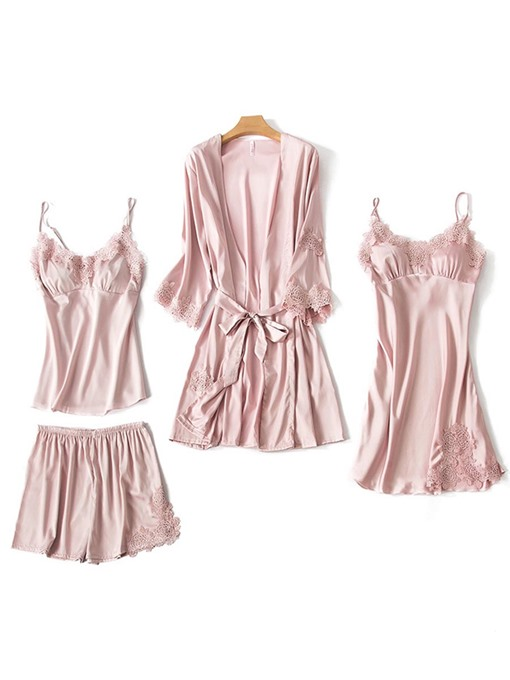 Ericdress Plain Silk Home Shorts Robe Sleepwear Suit 4 Pieces