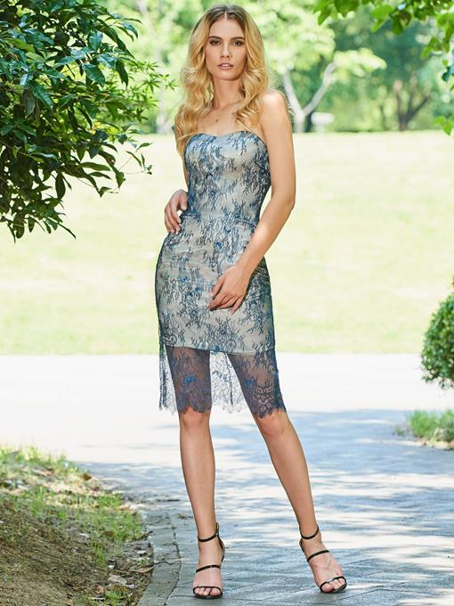 Ericdress Sheath Strapless Lace Bodycon Homecoming Dress