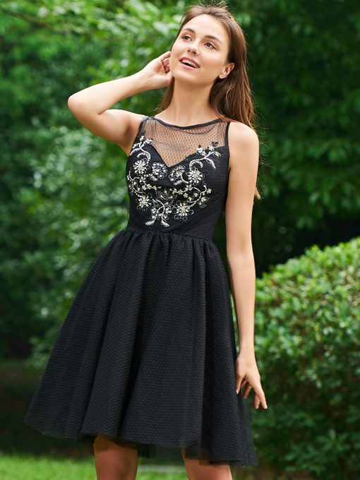Ericdress Short Little Black Cocktail Party Dress With Beadings