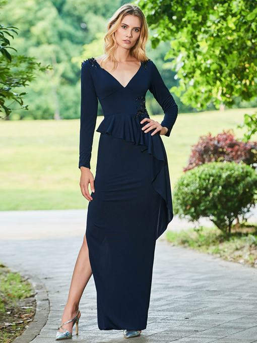 Ericdress Sheath Long Sleeve Evening Dress With Beadings