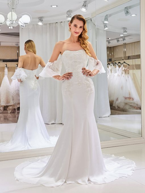 Ericdress Off the Shoulder Beading Appliques Mermaid Wedding Dress