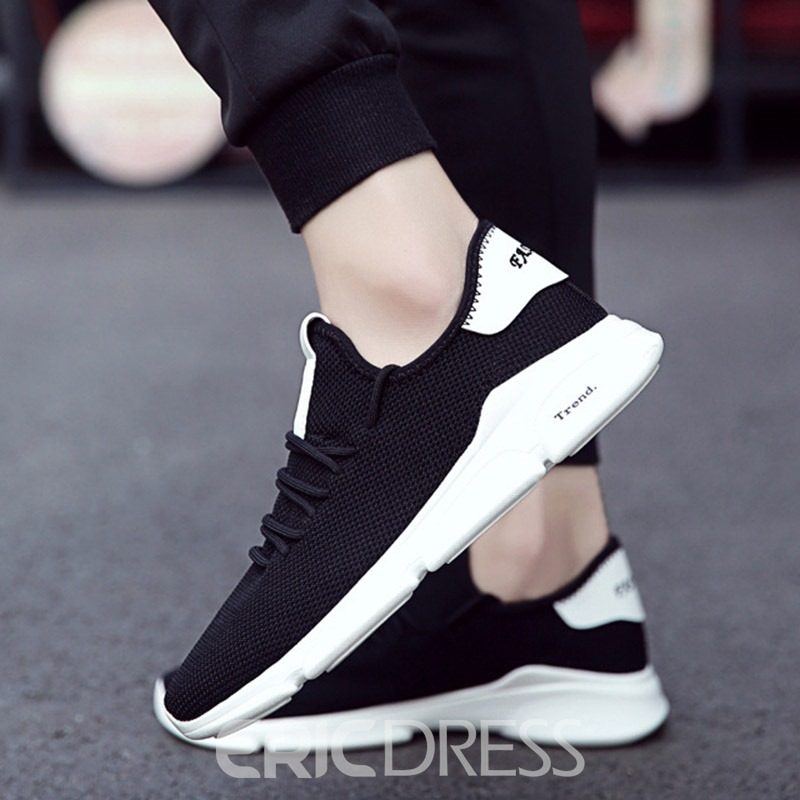 Ericdress Mesh Color Block Lace-Up Round Toe Men's Sneakers