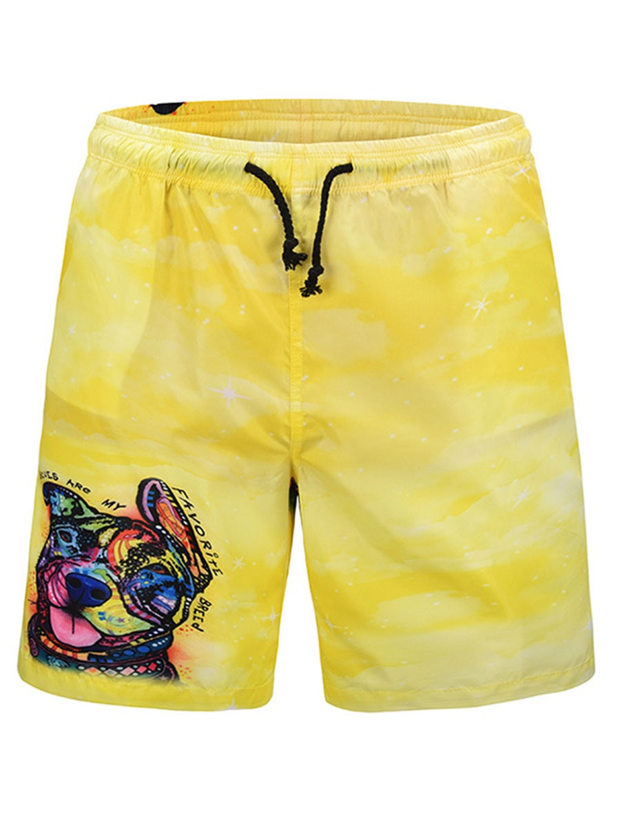 Ericdress European Animal Printed Mens Beach Board Swim Shorts