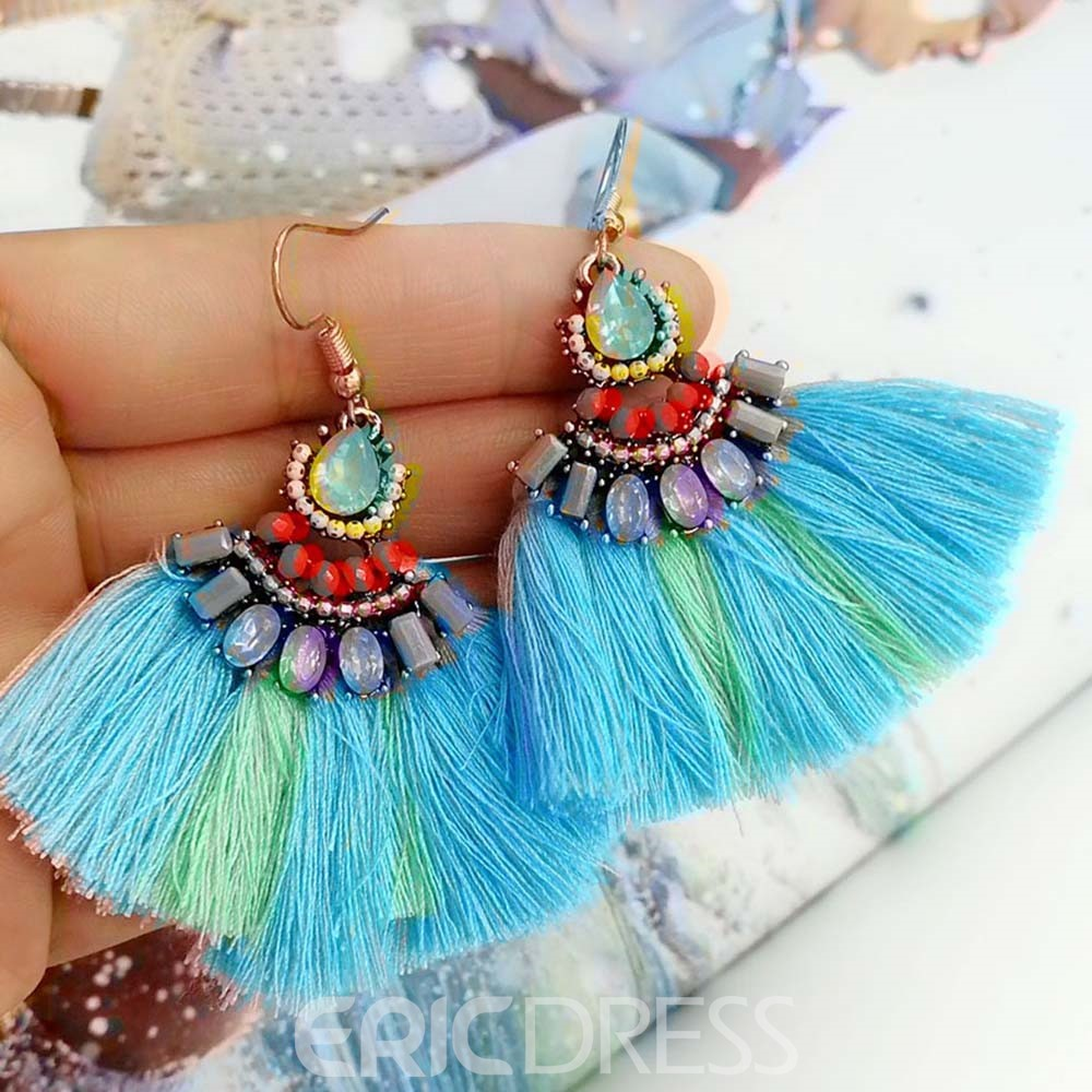 Ericdress Tassels Fan Drop Earrings