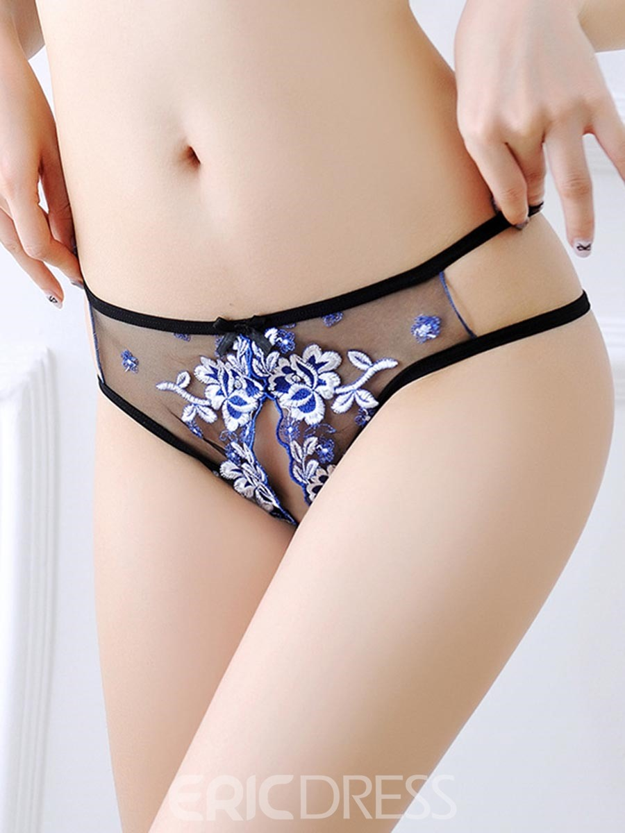 Ericdress Sexy Embroidery Bowknot Open Crotch Panties