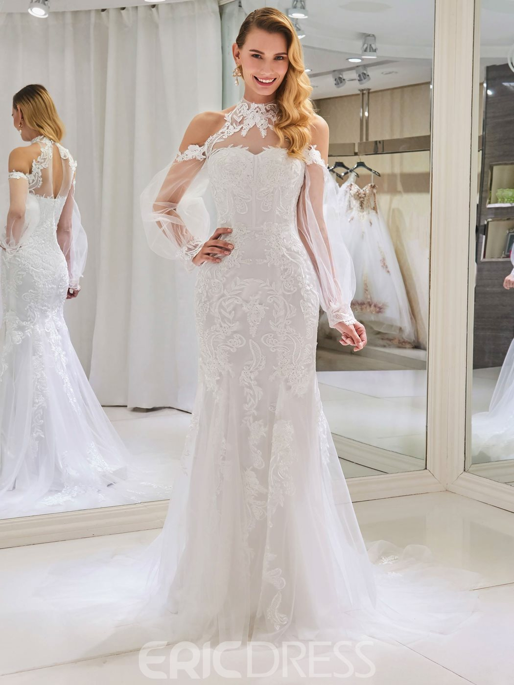 Ericdress Mermaid Long Sleeves Cold Shoulder Wedding Dress