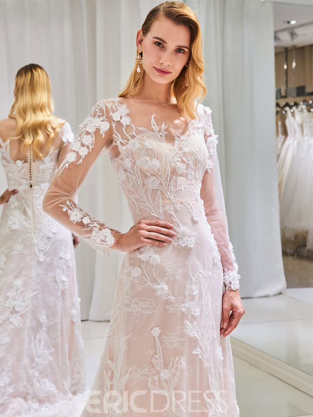 Ericdress Sheath Long Sleeve Lace Wedding Dress 2019