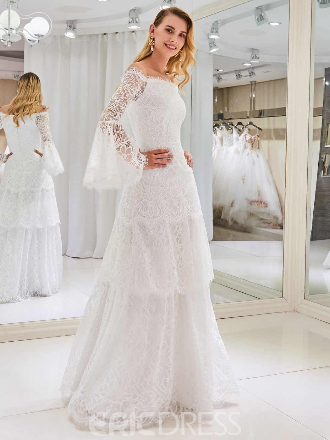 Ericdress Lace Long Sleeves Wedding Dress