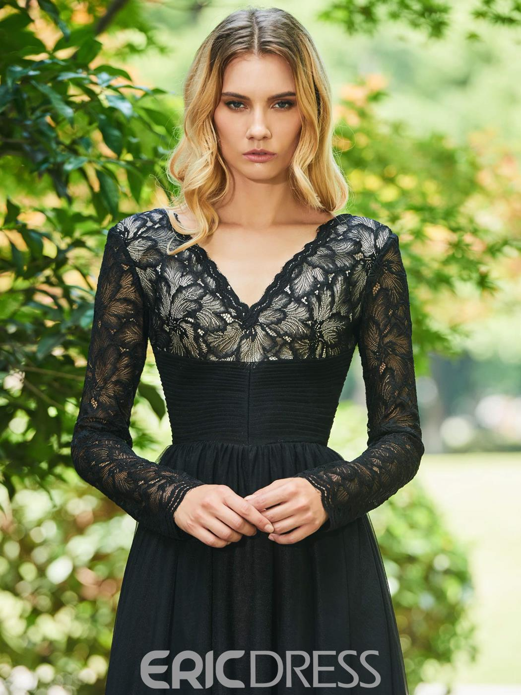 Ericdress Long Sleeve Black Lace Evening Dress