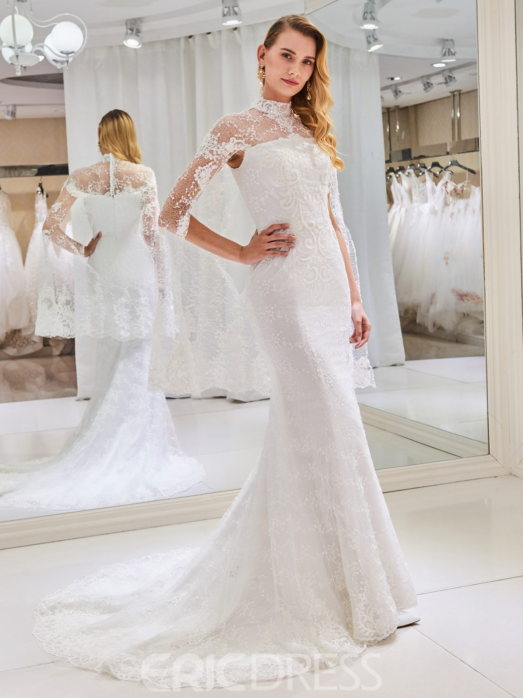 Ericdress High Neck Beaded Mermaid Lace Wedding Dress