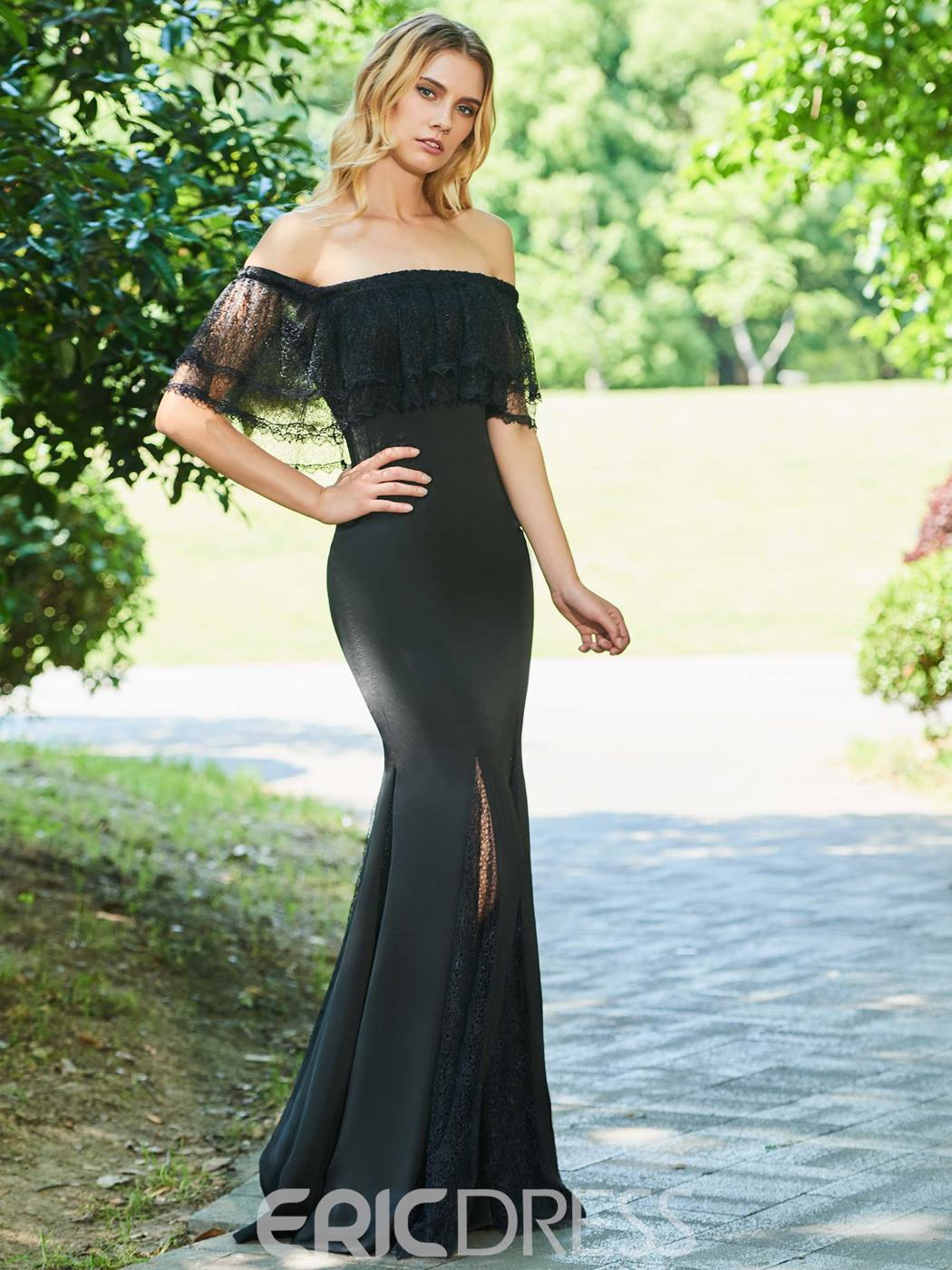 Ericdress Off The Shoulder Black Mermaid Evening Dress