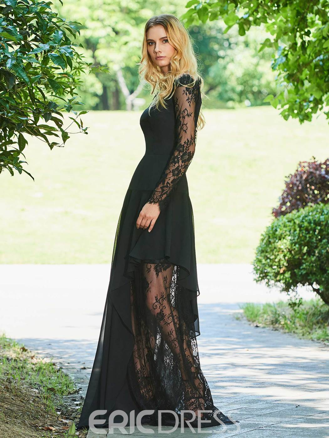 Ericdress A Line Off The Shoulder Lace Black Evening Dress With Long Sleeve