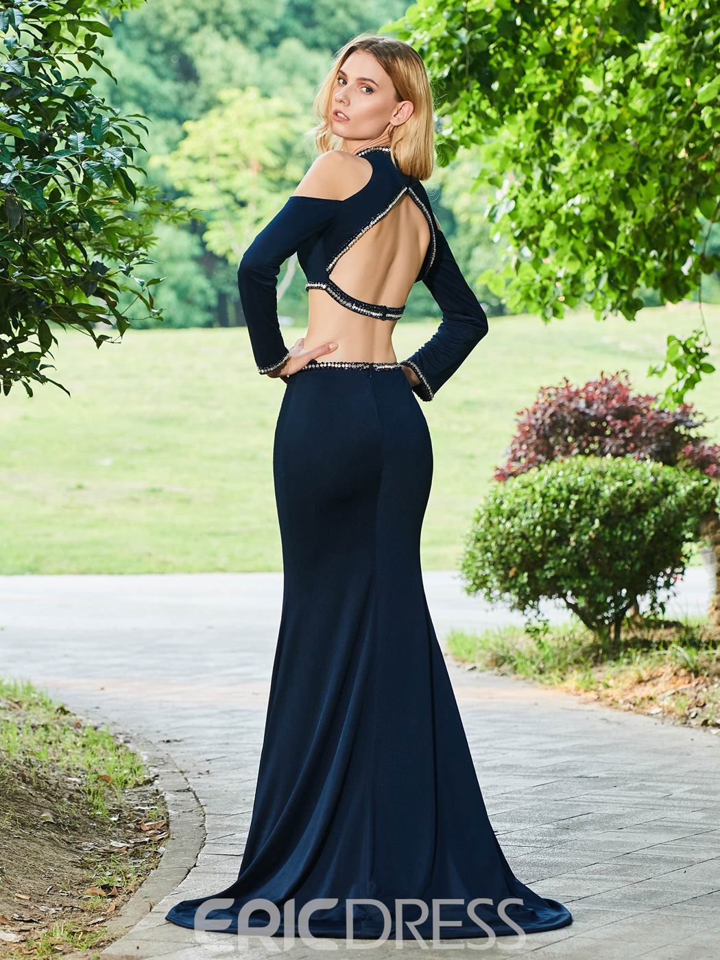 Ericdress Long Sleeve Two Pieces Mermaid Evening Dress With Beadings