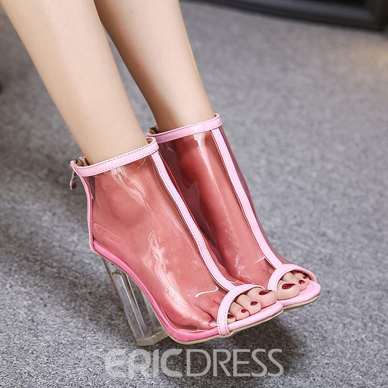 Ericdress Patchwork See-Through Peep Toe PVC Chunky Sandals