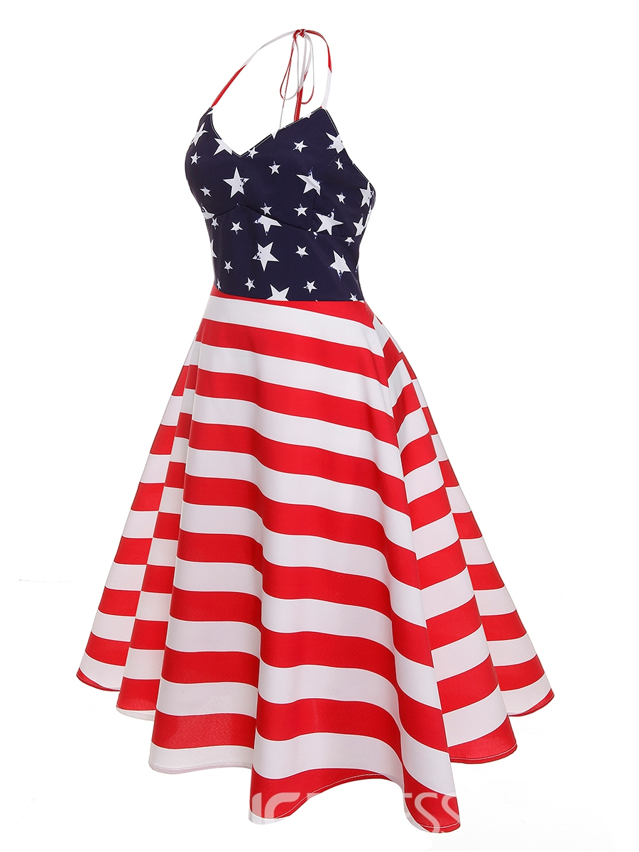Ericdress V-Neck Trumpet Lace-Up World Cup A-Line Dress