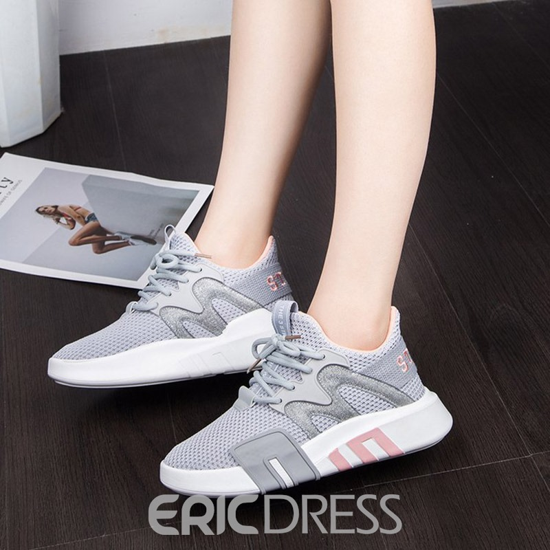 Ericdress Mesh Lace-Up Round Toe Women's Sneakers