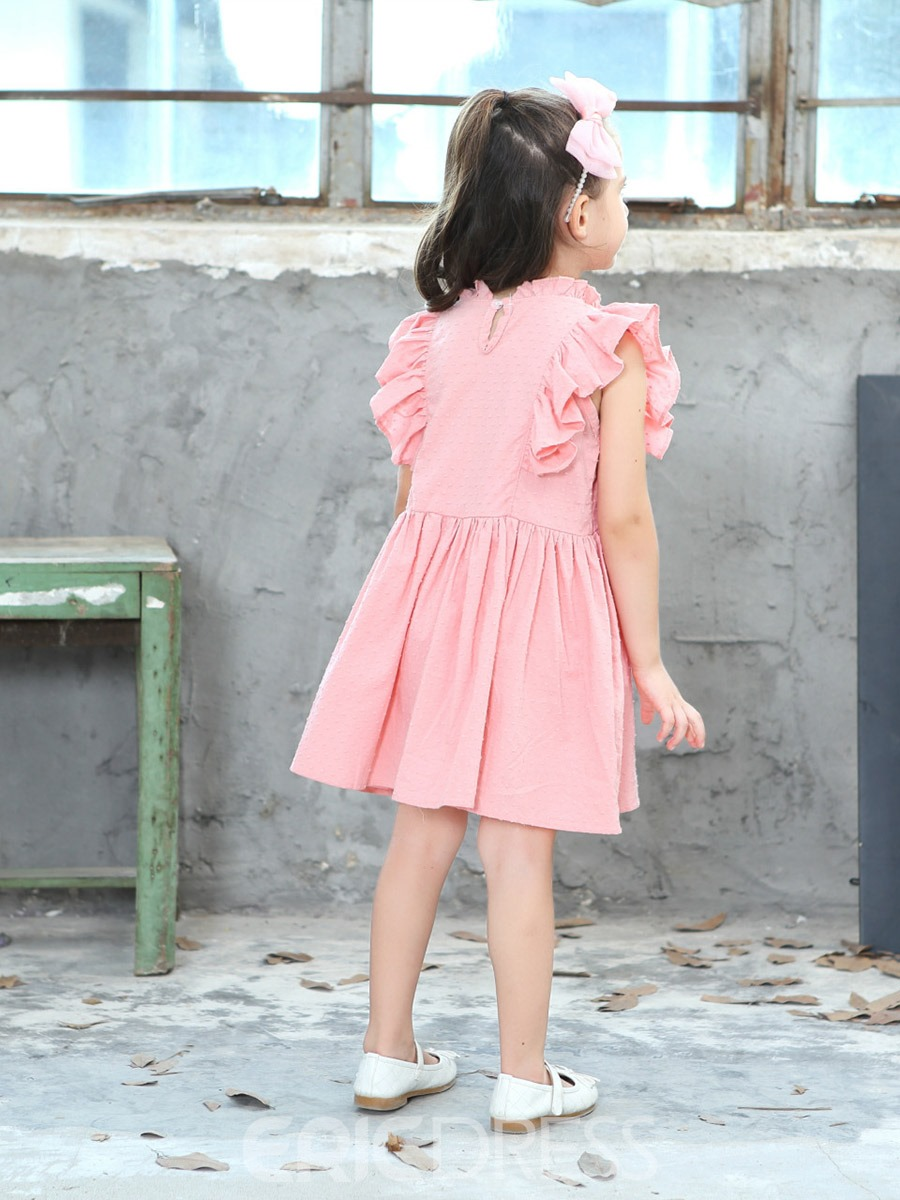 Ericdress Plain Cap Sleeve A-Line Girl's Casual Dress