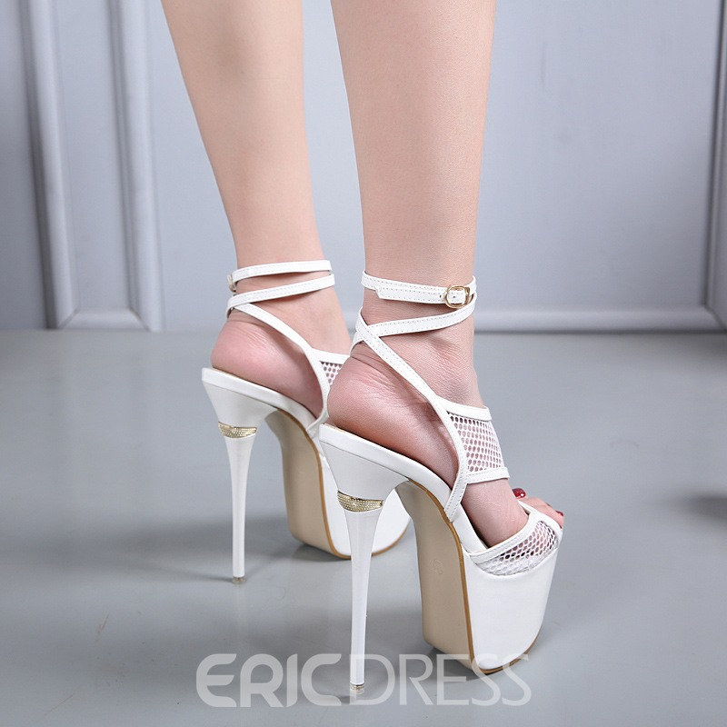 Ericdress Hollow Strappy Peep Toe Ultra-High Heel Sandals