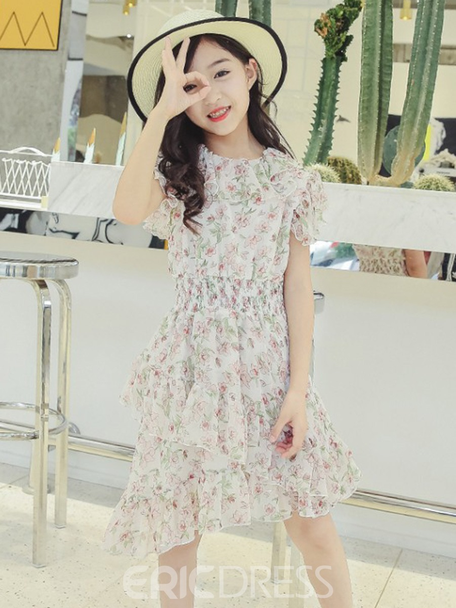 Ericdress Floral Printed A-Line Pullover Girl's Chiffon Casual Dress
