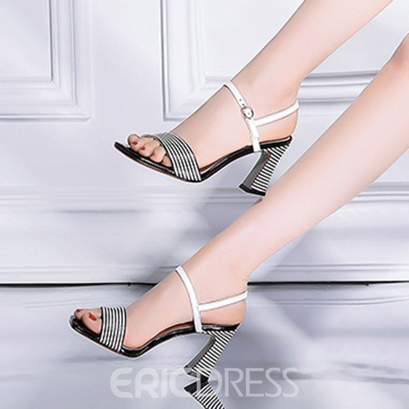 Ericdress Stripe Strappy Horse-Shoe Heel Sandals