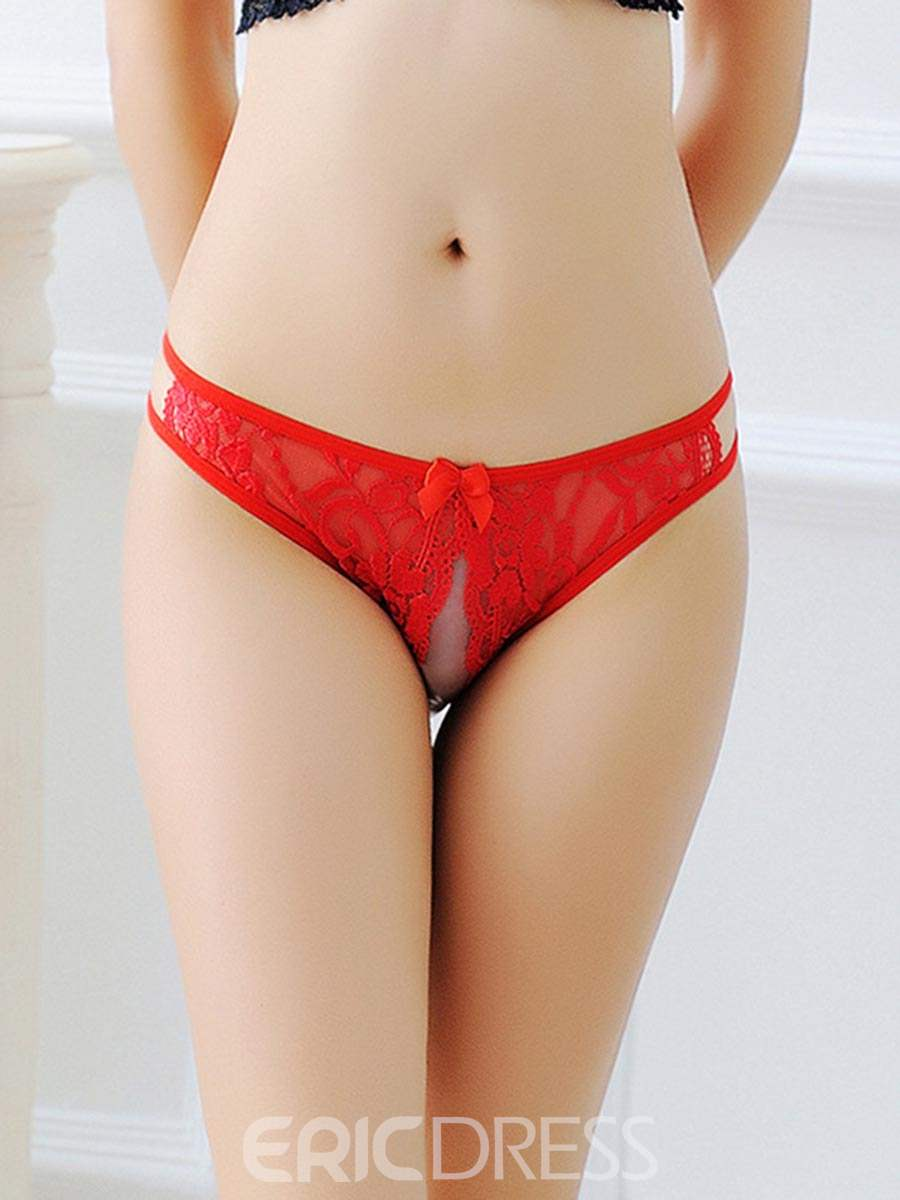 Ericdress Crotchless Lace Bowknot Sexy Panty
