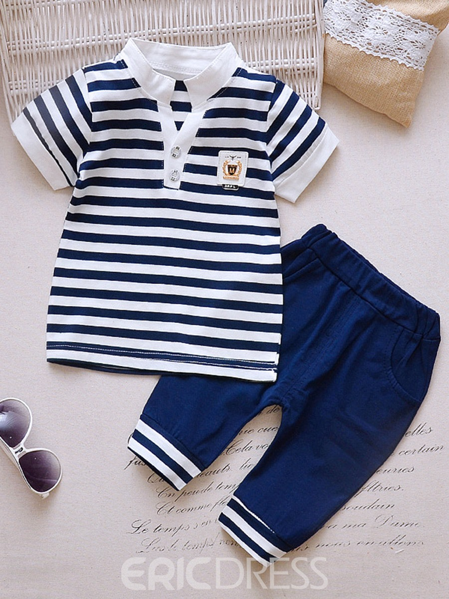 Ericdress Stripe Button T Shirts & Shorts Baby Boy's Outfits