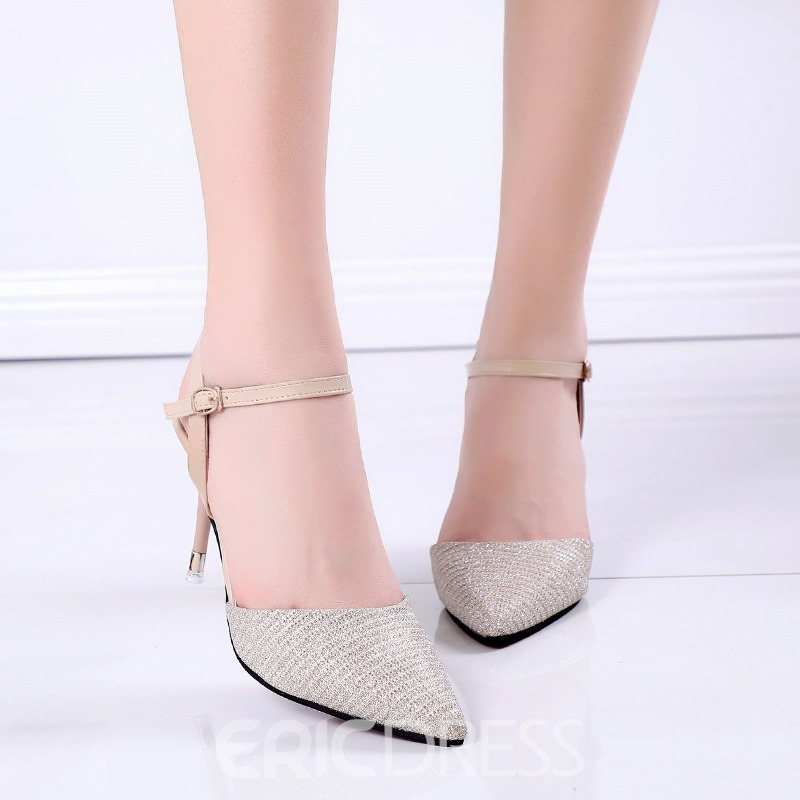 Ericdress Ankle Strap Patchwork Closed Toe Spool Heel Sandals