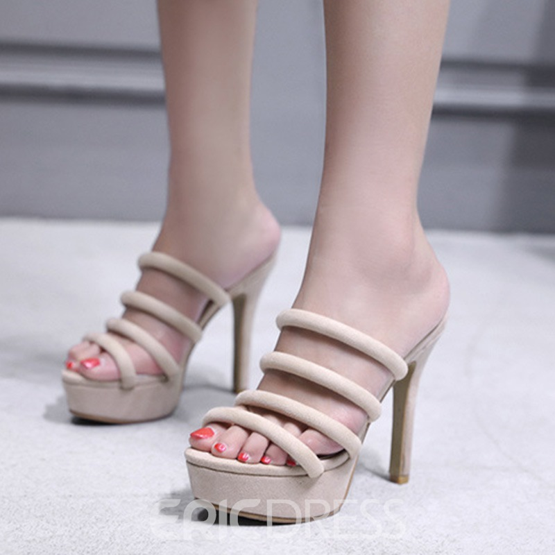 Ericdress Plain Slip-On Platform Stiletto Sandals