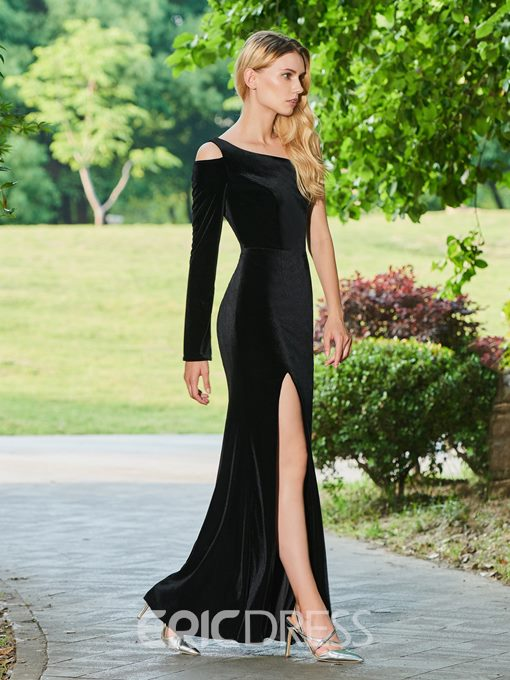 Ericdress One Shoulder Sheath Black Evening Dress