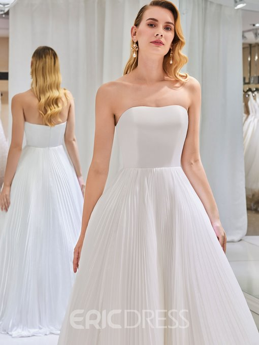 Ericdress Strapless A Line Sleeves Wedding Dress