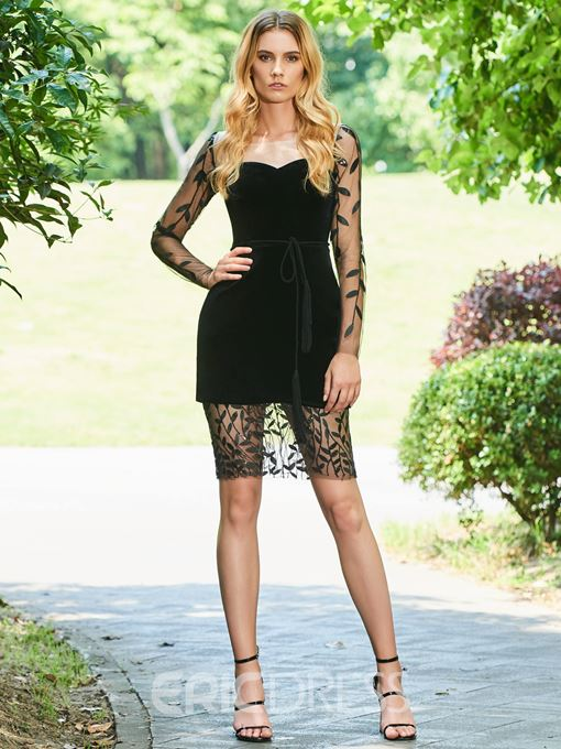 Ericdress Sheath Long Sleeve Black Bodycon Homecoming Dress