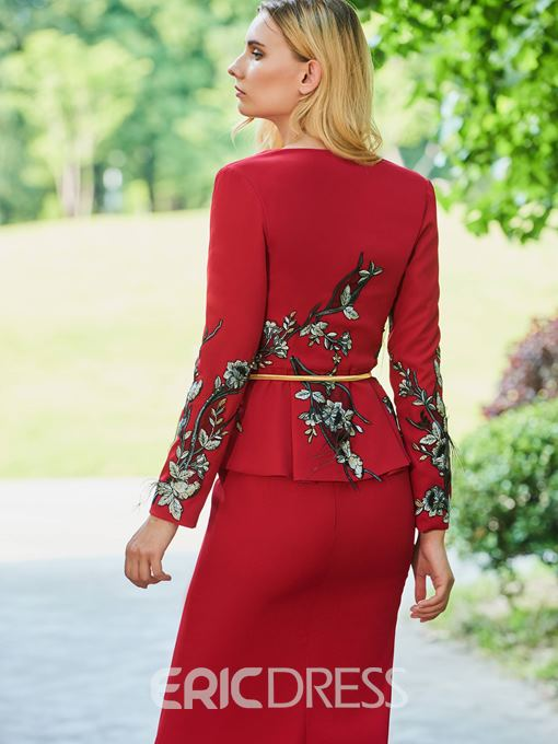 Ericdress Sheath Long Sleeves Split Front Mother of the Bride Dress