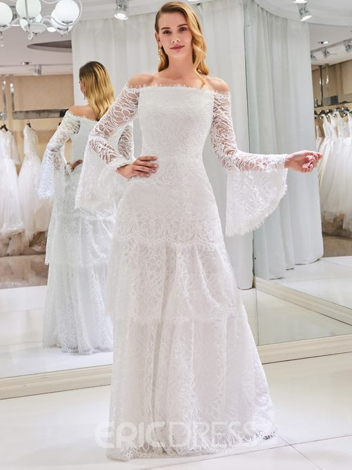 Ericdress Tiered Lace Long Sleeves Wedding Dress