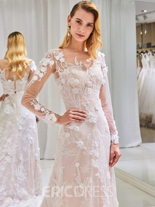 Ericdress Sheath Long Sleeves Lace Wedding Dress