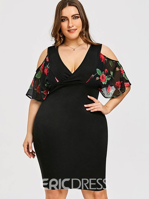 Ericdress Plus Size V-Neck Short Sleeve Knee-Length Floral Bodycon Dress