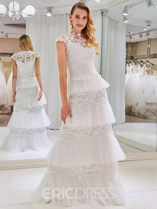 Ericdress High Neck Cap Sleeves Tiered Lace Wedding Dress