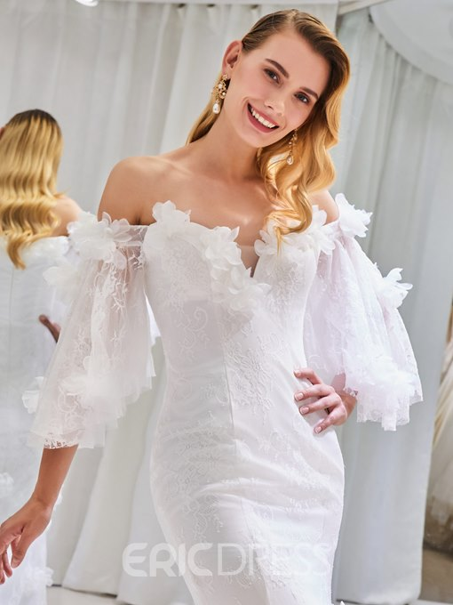 Ericdress Off the Shoulder Mermaid Lace 3D Floral Wedding Dress