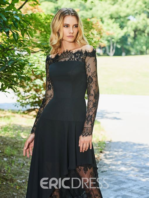 Ericdress Off The Shoulder Lace Black Evening Dress with Long Sleeve