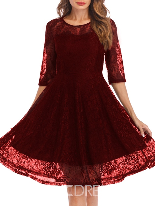 Ericdress Half Sleeves Pullover Zipper Lace A-Line Dress