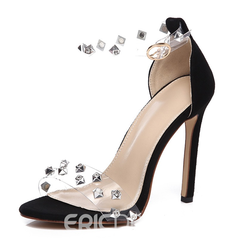 Ericdress Rhinestone Rivet Patchwork Stiletto Heel PVC Sandals