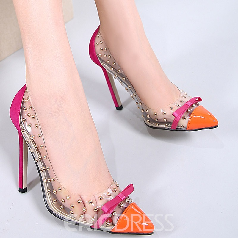 Ericdress PVC Bowknot Rivet Pointed Toe Stiletto Sandals