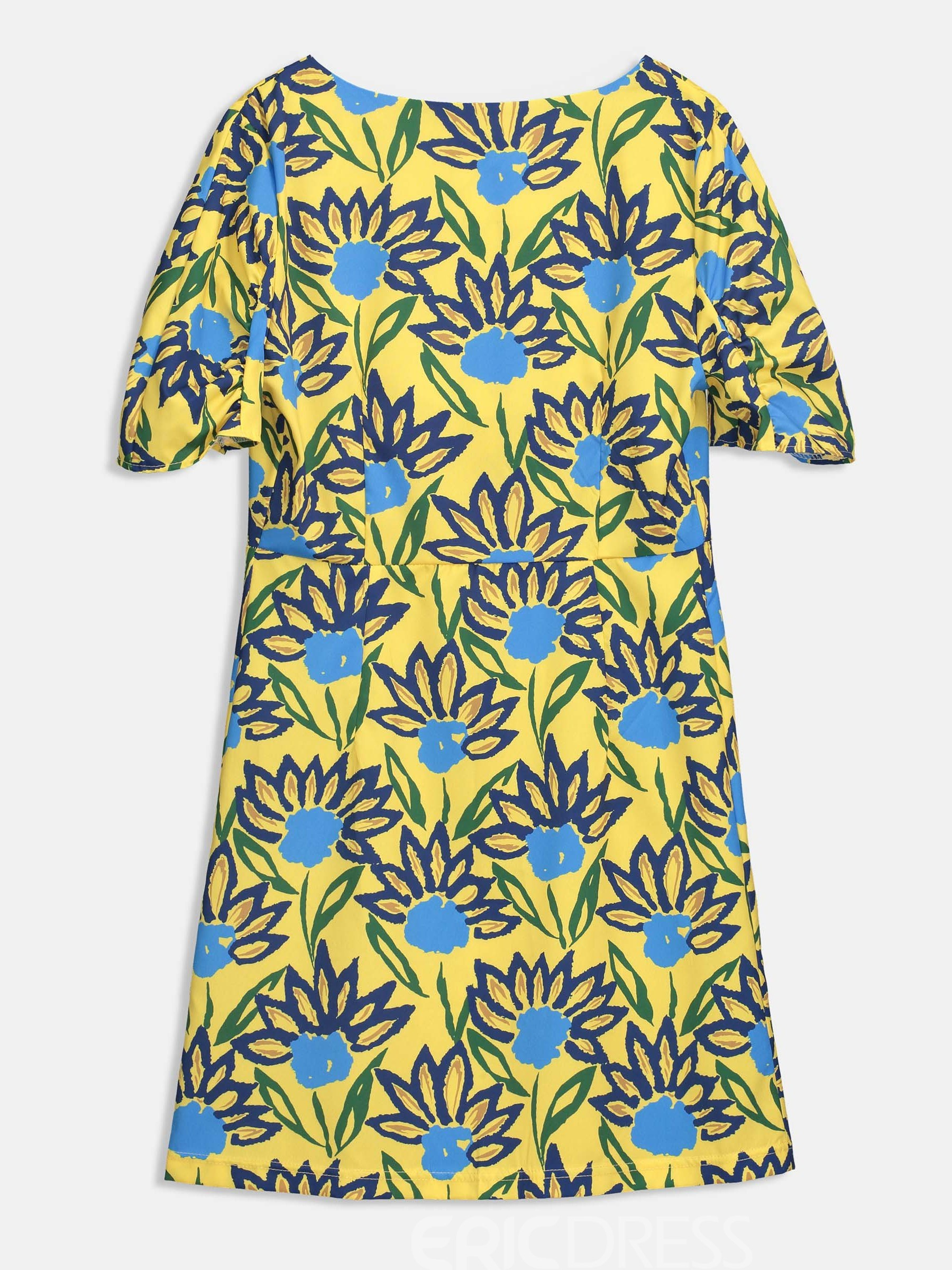 Yellow Single-Breasted Floral Women's Day Dress