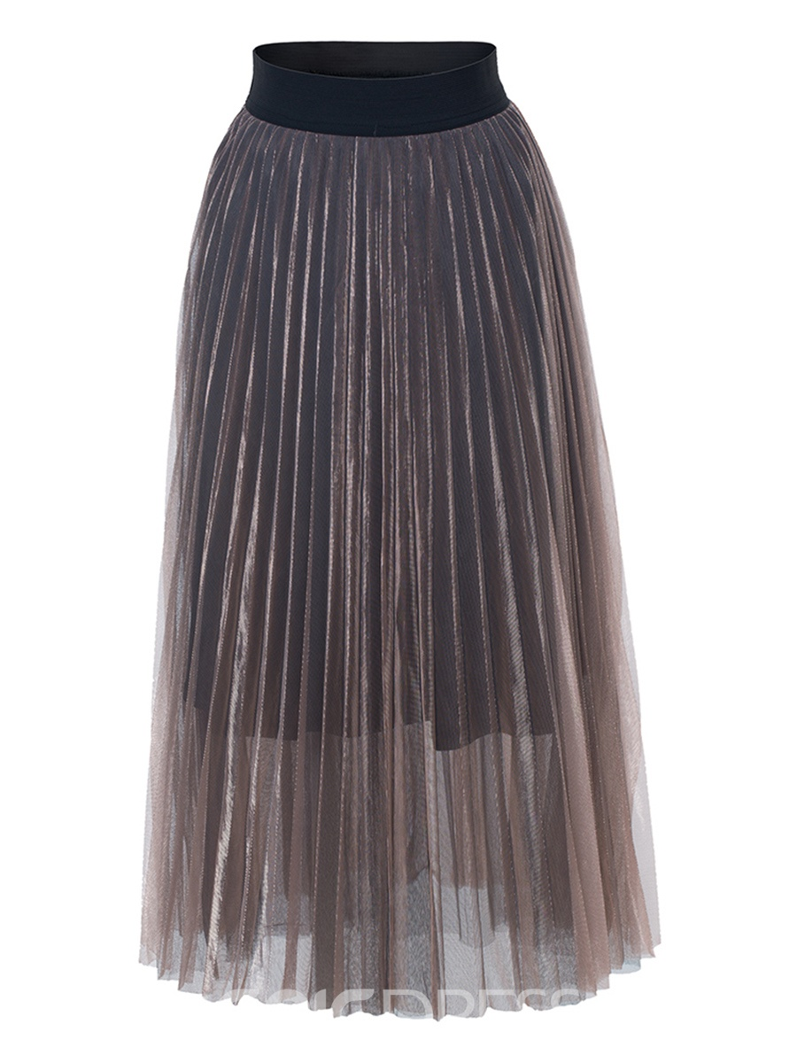 Ericdress Mesh Mid-Calf Pleated Women's Skirt